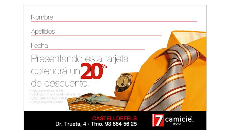 Tarjeta de fidelidad de las tiendas 7Camicie de Castelldefels; marca líder italiana en el mercado textil (Barcelona)