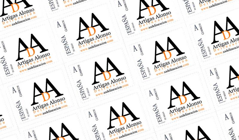 Sellos de curso legal con el logo de AAD como motivo de estampado (España)
