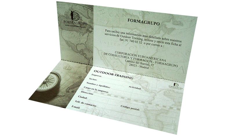 Díptico para Formagrupo, compañía de soluciones globales de formación y consultoría de gestión (España)