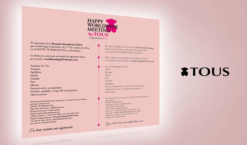 Mailing para meeting mundial de Tous (Barcelona)